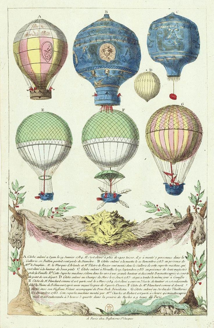 Hot-air balloons: A. flown at Lyon, 19 Jan. 1784; B. flown 21 Nov. 1783; C. flown at Versailles, 19 Sept. 1783; D. flown at Chap-de-Mars, 17 Aug. 1783; E. Jean-Pierre Blanchard's balloon flown 24 March 1784; F. Flown by Blanchard with Dom Pech Bénédictin; G. flown over the gardens of Thuilleries, 1 Dec. 1783. Print, published in Paris chez Basset rue St. Jacques, 1784?