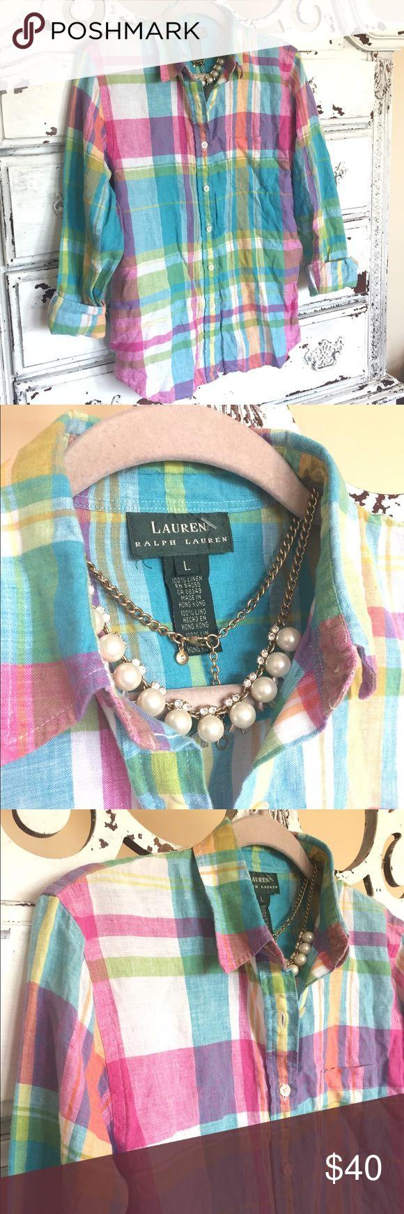 🌸💐☀️Ralph Lauren LRL preppy madras shirt🌸🌺☀️ Think spring ladies! Classic and pretty for spring/ Easter!! Lauren Ralph Lauren Tops Button Down Shirts