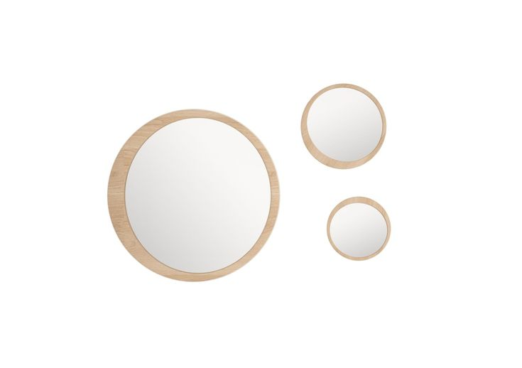 #Luna mirrors in solid oak with three different sized