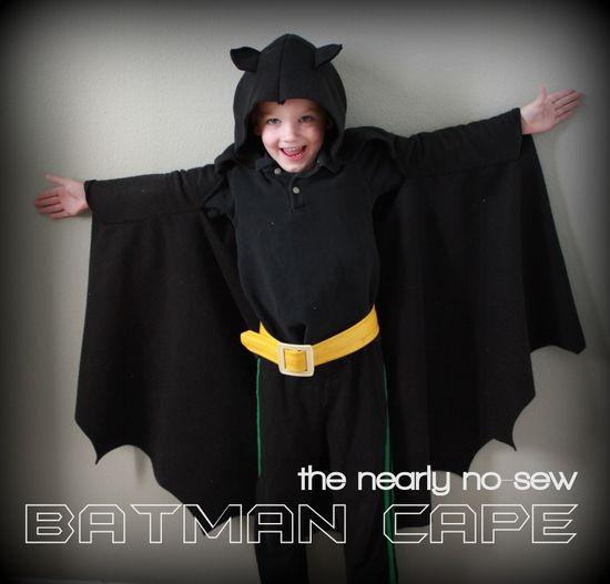 The Nearly No-Sew Batman Cape via vanillajoy.com