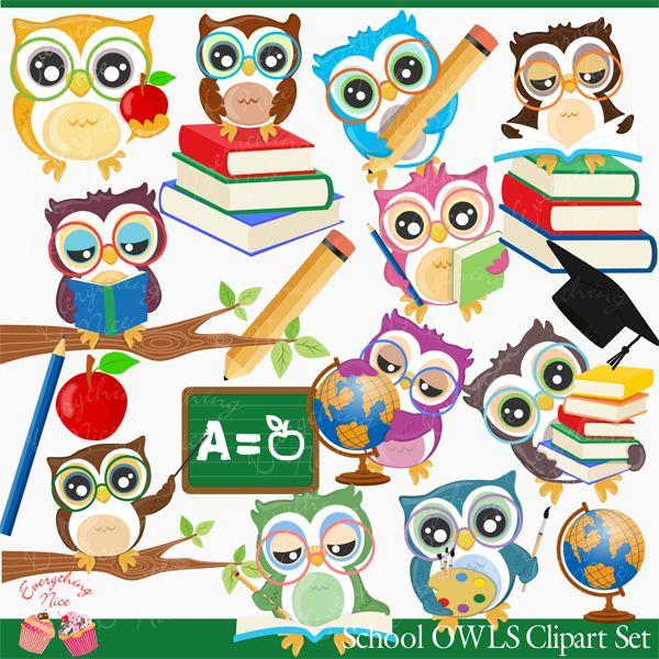 School Owls Clipart Set