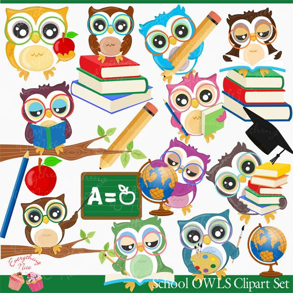 School Owls Clipart Set