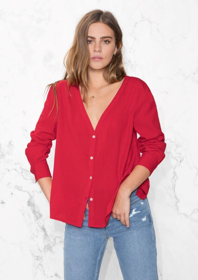 & Other Stories image 2 of V-Neck blouse in Red