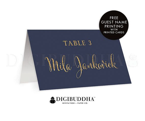 Navy + Gold TENTED PLACE CARDS Wedding Escort Card Label Folded or Flat Placecards Navy Blue Gold Glitter Modern Rehearsal Dinner - Mila Style by digibuddhaPaperie Available at digibuddha.com