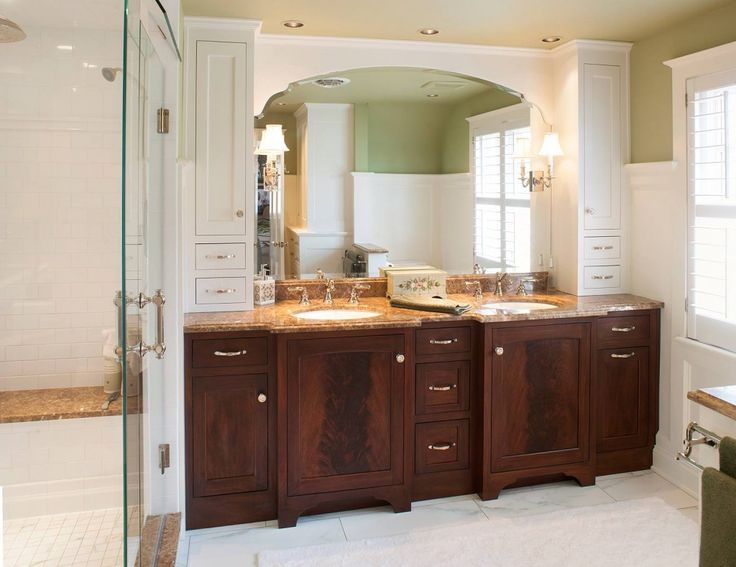 Exceptional Master Bathroom Cabinet Ideas With Amazing Mahogany Master Bath Cabinet  With Brown Granite Countertops Oval Panel Sink And White Bathroom Storage  And ...