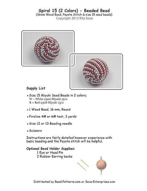 Spiral 15 (2 colors) Beaded Bead Pattern | Bead-Patterns.com