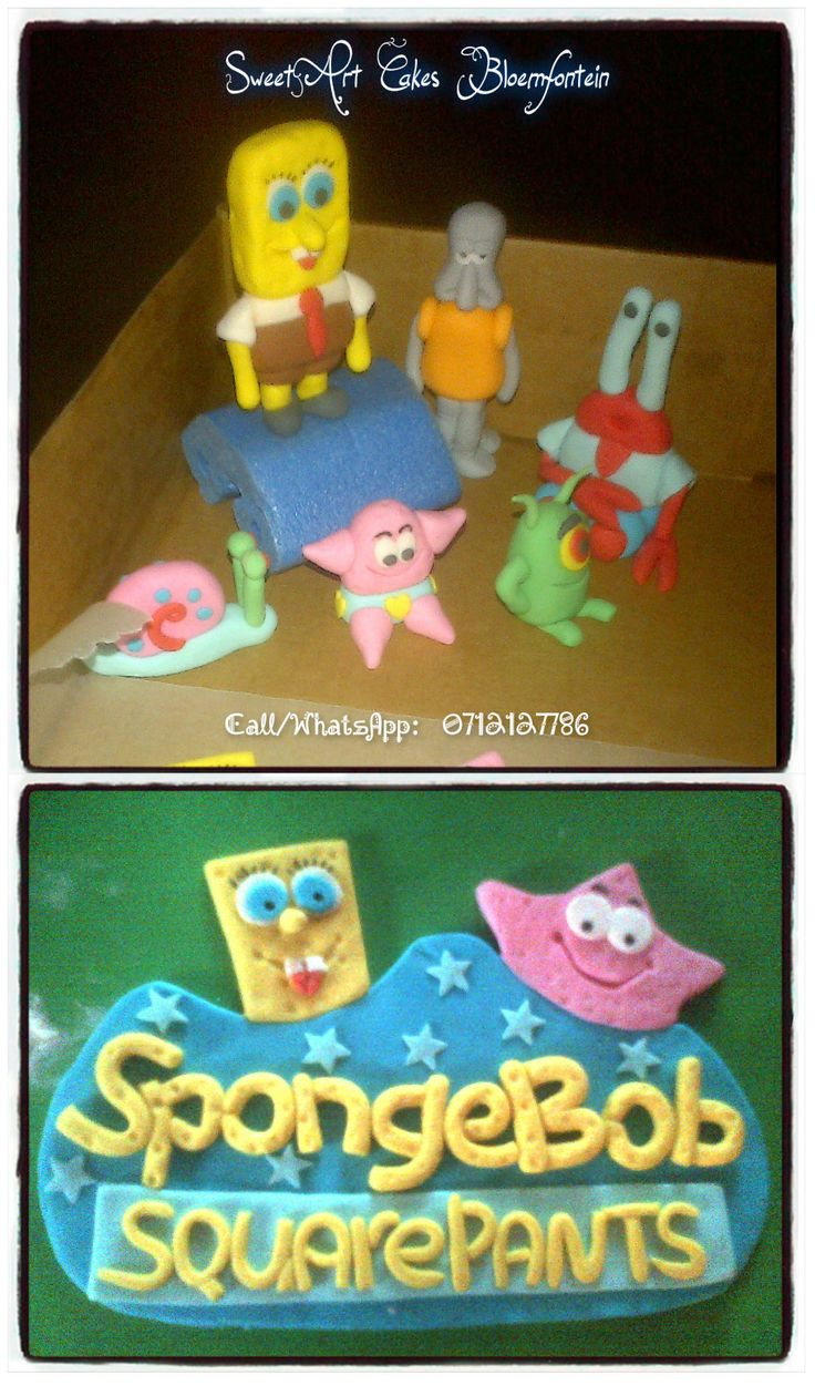 Fondant SpongeBob decor  Beautiful, affordable themed cakes, cupcakes and custom made fondant decorations & figurines made according to your specification for all types of cakes. (Cake decor available for sale separately)  For more information or orders Email: sweetartbfn@gmail.com Call/WhatsApp 0712127786; Follow me on Facebook https://www.facebook.com/groups/SweetArtCakesBloemfontein/ Follow me on Pinterest: http://www.pinterest.com/SweetArtCakeBfn/