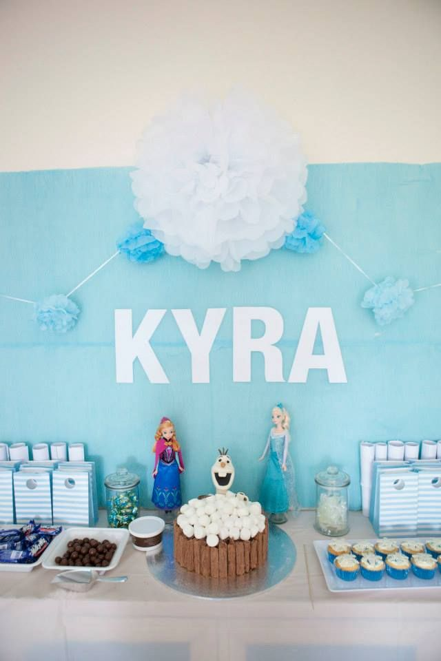 Frozen Party styling, lolly buffet and cake
