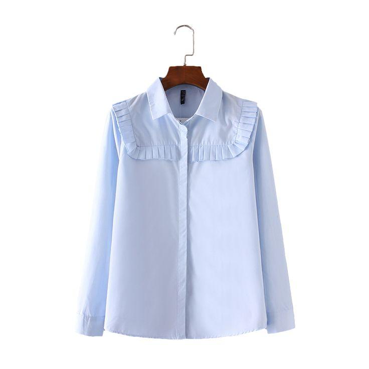Женщины элегантный офис носить плиссированные дизайн рубашки с длинным рукавом синий turn down воротник блузки осень мода повседневная топ blusas LT1108