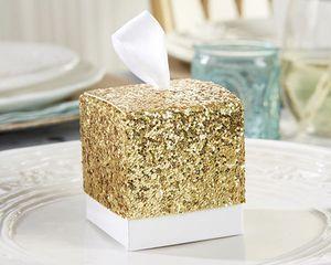 Gold Glitter Favour Boxes - wedding favours