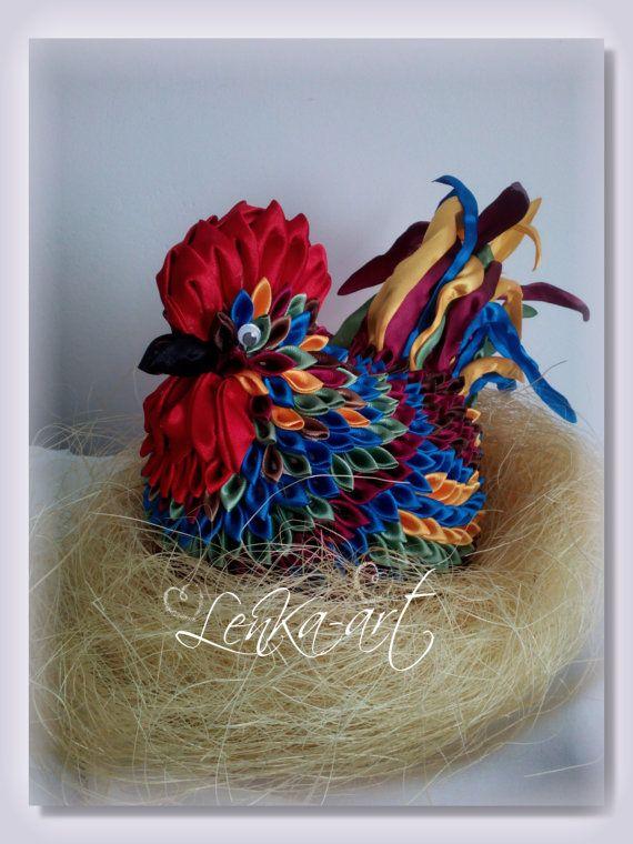 Easter rooster tsumami kanzashi petals