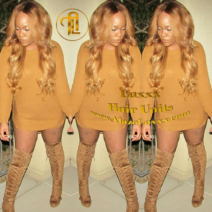 Hot Over Sized Sweater Dress Super Combo' Honey Blonde(27) with Auburn(30) Dark Rooted and Ombre Brown (4) with dancing highlights! Glue-less 4x4 lace front wig with adjustable straps and combs for security.  Unit can be straightened, curled, dyed, or permed.