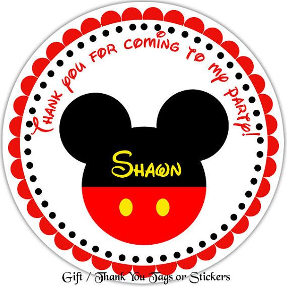 Mickey Mouse Head - Personalized Stickers, Party Favor Tags, Thank You Tags, Gift Tags, Address labels, Birthday, Baby Shower on Etsy, $6.00