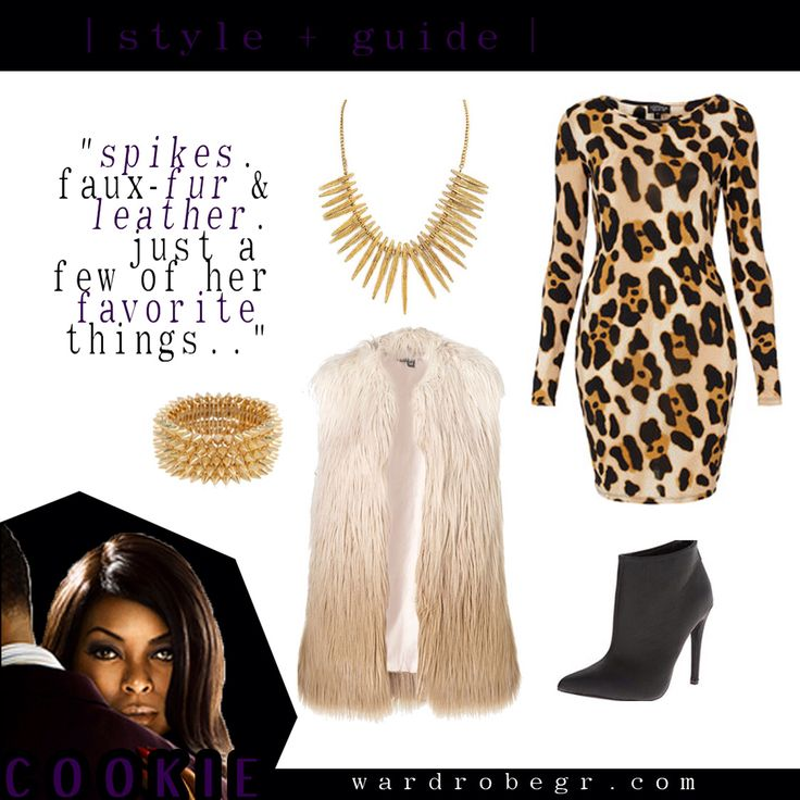 """""""Spikes, faux fur & leather are just a few of her favorite things...""""   #TeamCookie #EmpireFox Cookie Lyon, Fur Vest, Leopard Dress, Leather Bootie  """