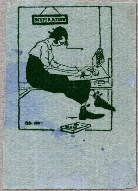 Caricature of Wanda Gág. Print based on a pencil-drawn caricature of Wanda Gág made by Adolph Dehn in 1916. The Dehn drawing is reproduced in Gág's Growing Pains: Diaries and Drawings for the Years 1908–1917 (Minnesota Historical Society Press, 1984).