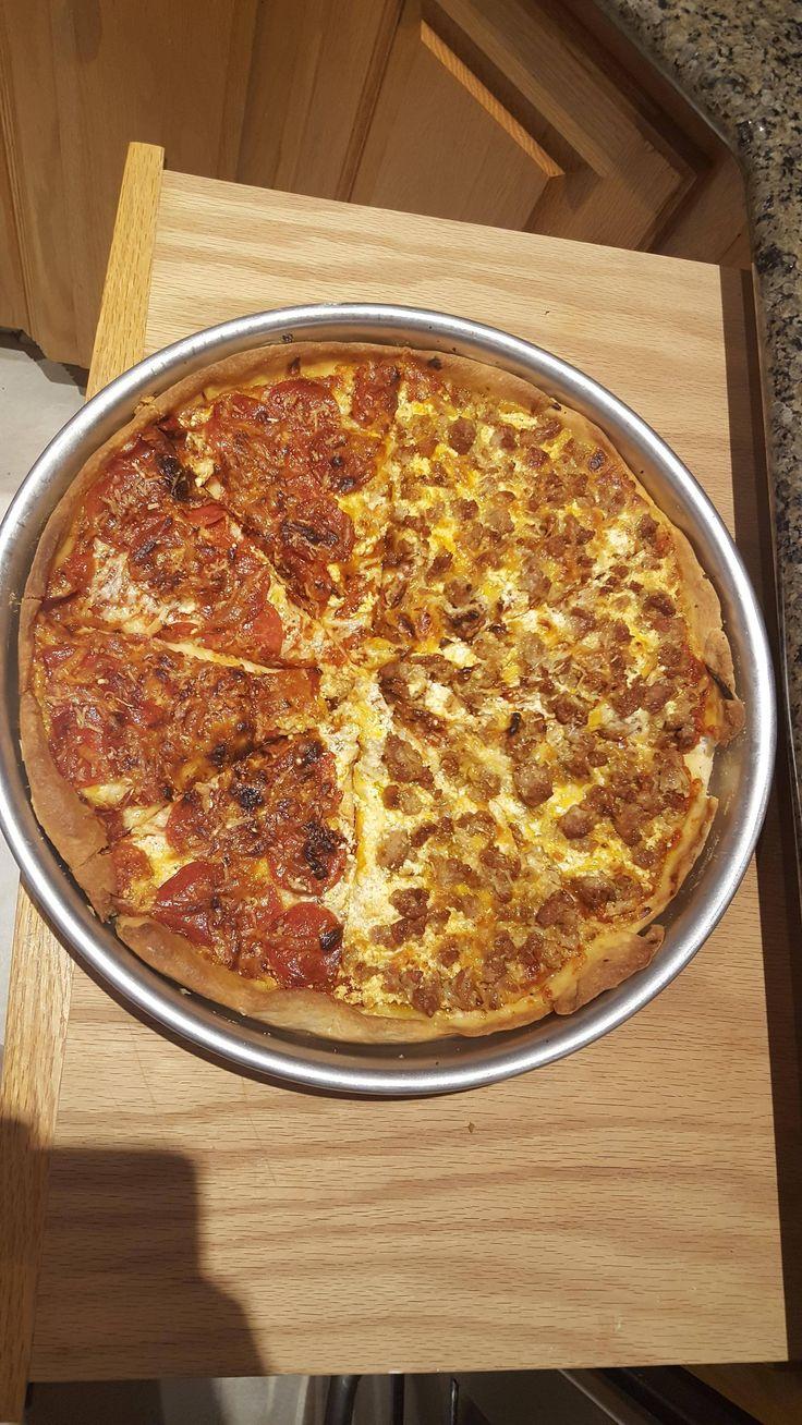 [Homemade] half pepperoni and half sausage pizza