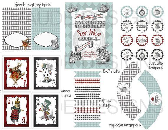 DIY Alice in Wonderland Birthday Party unbirthday printable vintage style party package