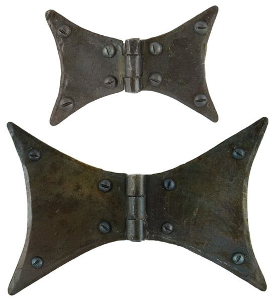 Blacksmith Beeswax Butterfly Hinges - These Butterfly Hinges are made from hand-forged iron. They are a high quality product, with a beeswax finish and hand forged using traditional English blacksmithing methods.