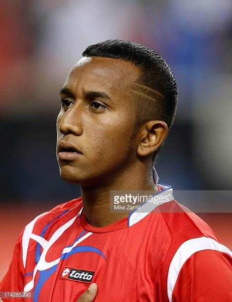 Marcos Sanchez of Panama pauses for the national anthem before the CONCACAF Gold Cup quarterfinal game against Cuba at the Georgia Dome on July 20...
