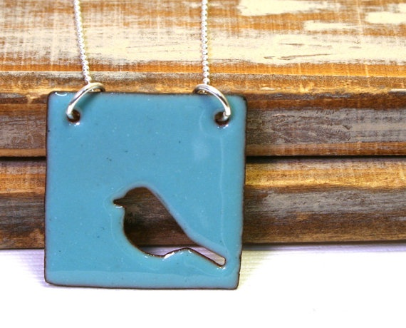 Necklace with cutout bird enamel pendant in by LuckyAccessories