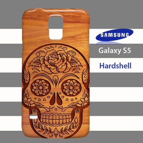 NEW Tribal Sugar Skull Flower on Wood Samsung Galaxy S5 Case Cover