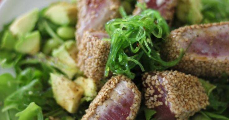 Salade met tonijn en zeewier