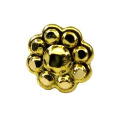 Indian Style Fancy Floral Design Body Piercing Nose stud Pin Solid Real 14k Yellow Gold