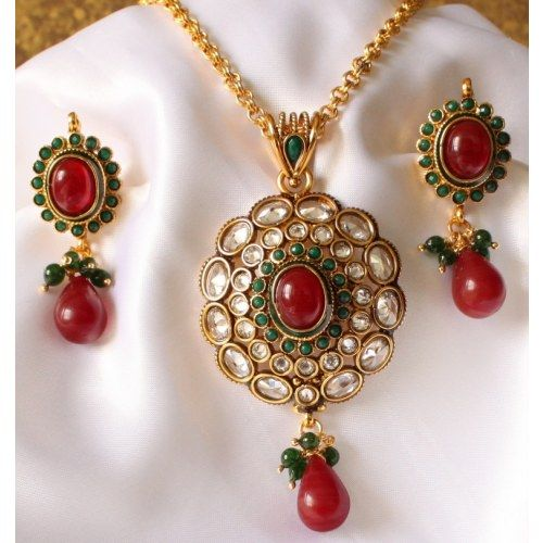 Jodhpuri Kundan Earrings Locket Set with Stones Necklace Jhumkas  Danglers Studs Tops Drops Traditional Ethnic
