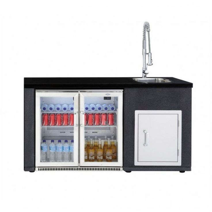 An ideal accompaniment to any outdoor kitchen set up. A reconstituted granite worktop and stainless steel frame complete with sink and pressure tap. Perfect for the Beefeater Double Door Tropical Fridge and the build in single door compartment.