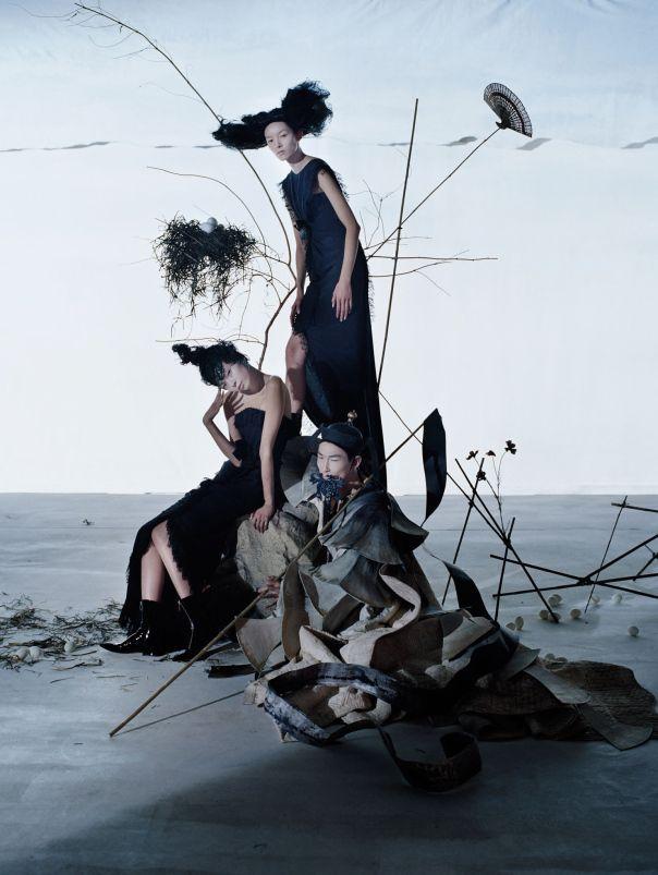 Xiao Wen Ju, Fei Fei Sun, Sang Woo Kim by Tim Walker Vogue China December 2014