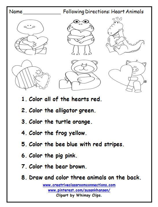 Worksheet Following Directions Worksheets For Kindergarten 227 best free worksheets on pinterest images this printable is a great february activity for following directions you can find similar