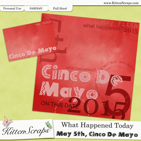 Paper created for today,Cinco De Mayo, May 5th, 2015, by KittenScraps. Digital Scrapbooking Freebie