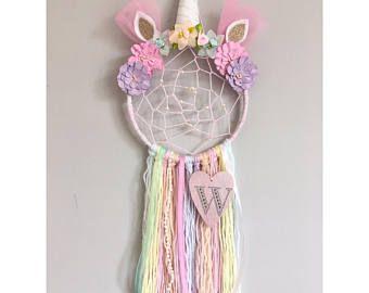 Personalised Unicorn Dreamcatcher with added webbing/Nursery decor