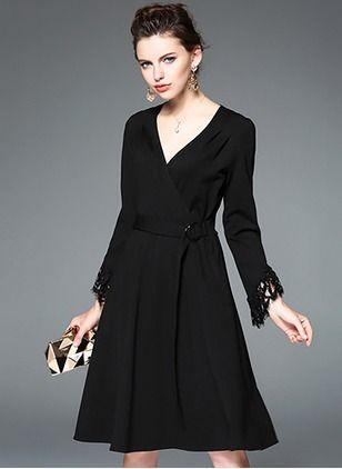Bawełna Mieszanki Twarde długim rękawem kolan sukienki na co dzień