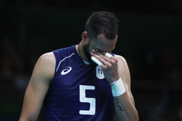 Osmany Juantorena of Italy shows his emotions following victory over the United States in the Men's Volleyball Semifinal match on Day 14 of the Rio 2016 Olympic Games at the Maracanazinho on August 19, 2016 in Rio de Janeiro, Brazil.