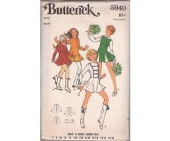 Butterick 5940 Vintage 70's Sewing Pattern Dandy Girls Petite Cheerleader Uniform, Majorette Costume, Skating Dress With Godets Panties Size 9/10