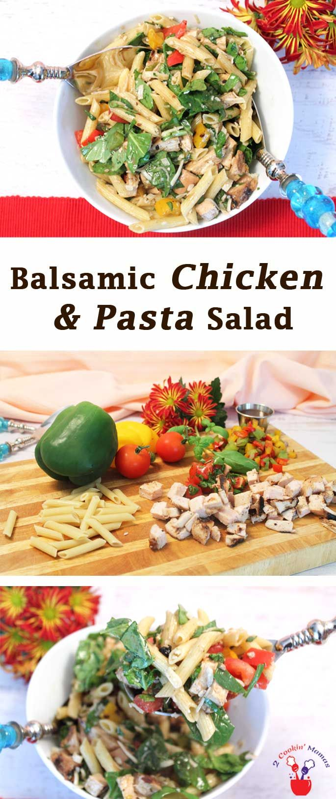 Balsamic Chicken & Pasta Salad is both healthy & delicious. It's the perfect summertime dinner. The flavors of grilled chicken & vegetables mixed with fresh basil & tomatoes will have everyone saying WOW!  via @2CookinMamas
