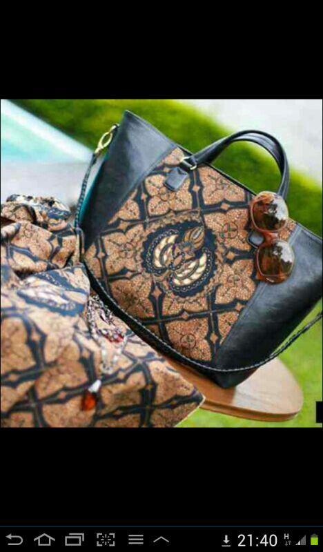 Tas batik kombinasi kulit