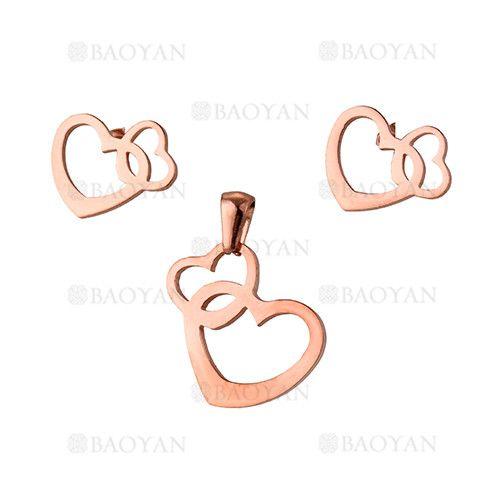 juego dije y aretes de doble corazon especial acero rosado inoxidable -SSSTG1033884