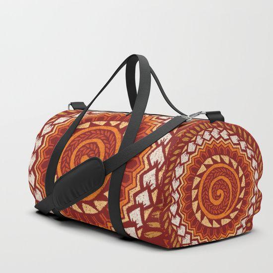 Retro Red 60s 70s Polynesian Mandala Duffle Bag