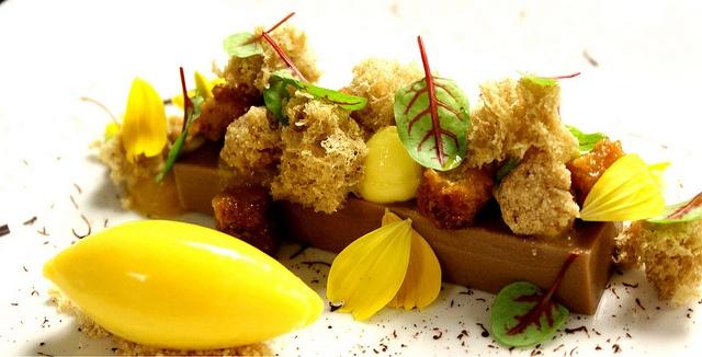 Gianduja Ganache, Hazelnut Sponge , Caramelized Brioche, Passion Fruit Cremeux, Banana Crumble, Passion Mango Sorbet by Pastry Chef Antonio Bachour, via Flickr