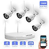 Wireless Security Camera System,Safevant Full-HD 4CH Video Security System with 4pcs 1080p Wireless Security Cameras,65ft Night Vision,Pre-installed 2TB Hard Drive,Auto-Pair,Plug&Play   【Plug&Play】No Need to Run Cables from Cameras to NVR.Just Plug the Wireless Security Camera System...