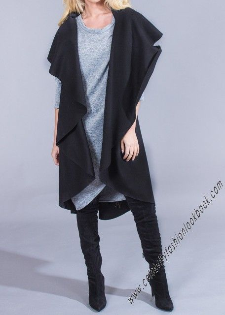 Waterfall Draped Vest - Vests - Outerwears - Womens Fashion  US$39.99  #fashion #vest #coat #winter #womens #casual #trendy