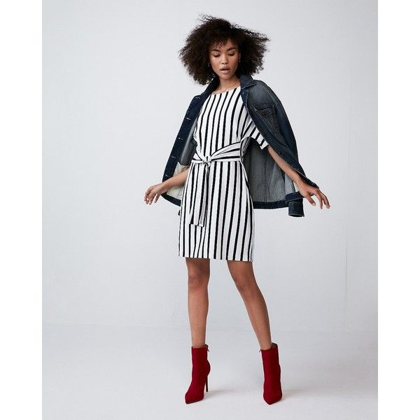 Express Petite Striped Front Tie Dolman Sleeve Dress (225 PEN) ❤ liked on Polyvore featuring dresses, stripe, wet look dress, sleeved dresses, short striped dress, short dresses and short petite dresses