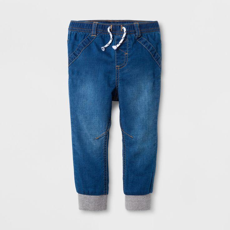 Baby Girls' Denim Jogger Pants - Cat & Jack Denver Wash 18 M, Blue