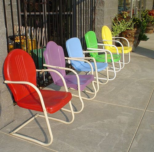 Antique Metal Lawn Chairs at the Petal Patch, McFarland, WI by thepetalpatch, via Flickr