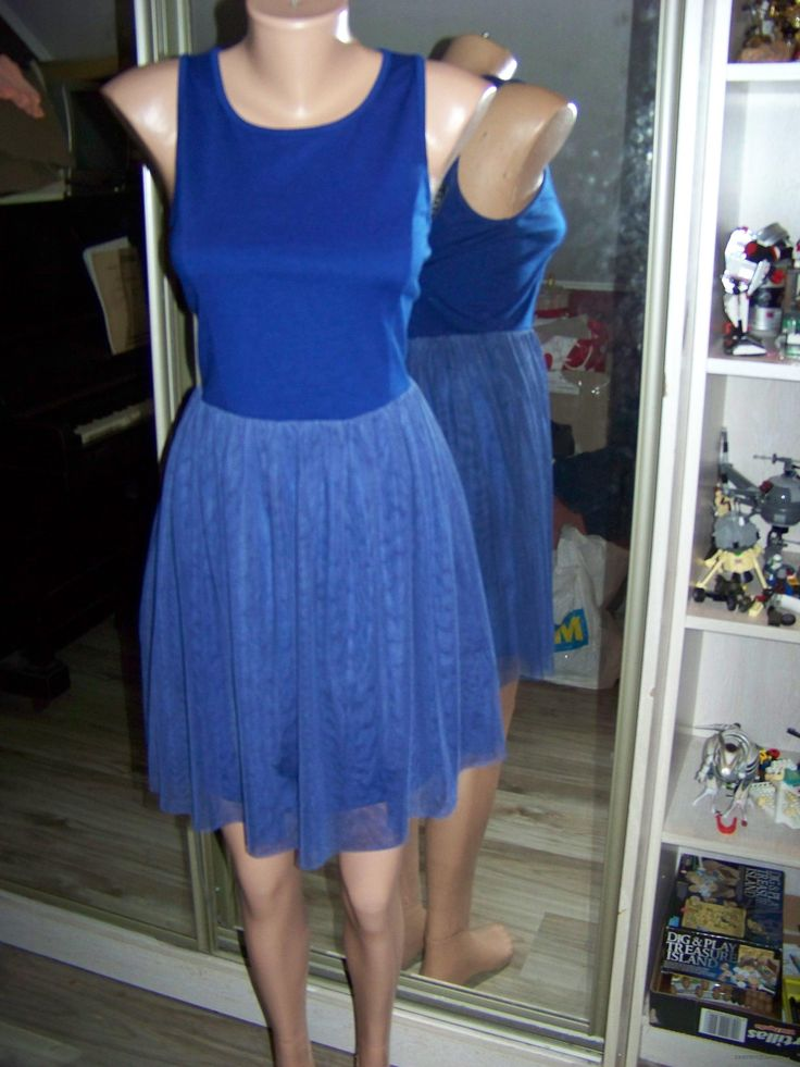 Синее платье-мини без рукавов (Even