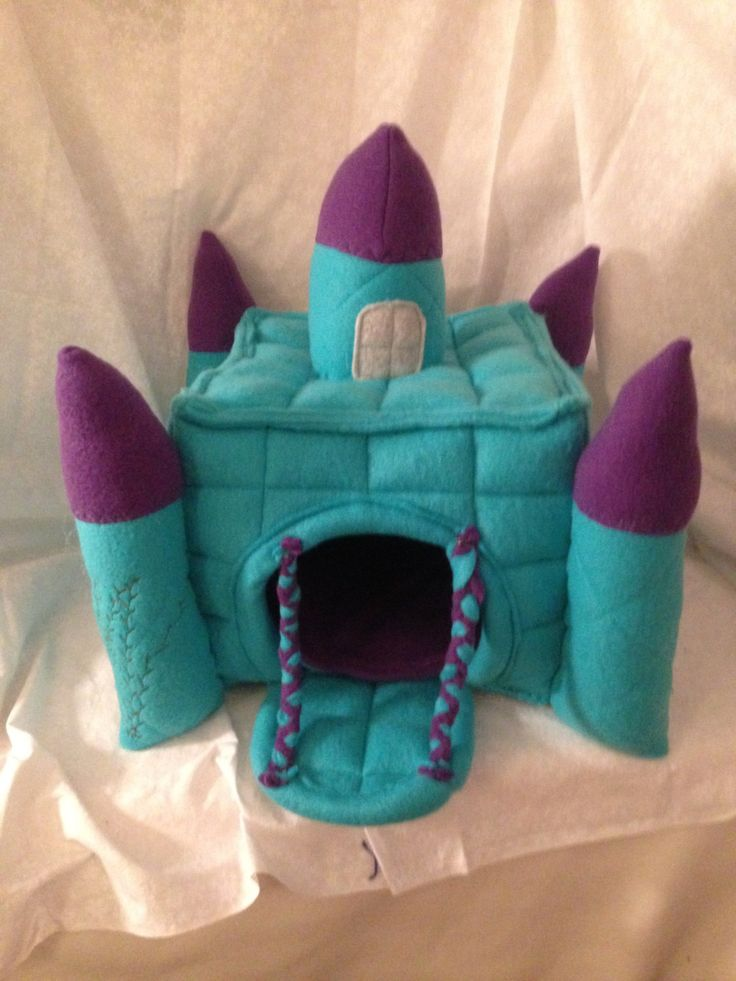 Hedgehog Fleece Castle House with Drawbridge Made to Order Item Any Color Combo by TheHomespunLoft on Etsy https://www.etsy.com/listing/215950091/hedgehog-fleece-castle-house-with