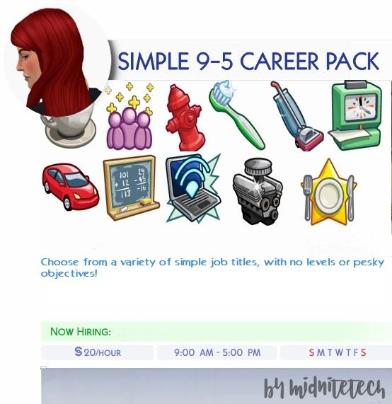Simple 9 5 Career Pack I Bring You A Whole Pack Of Rabbithole Careers These Are All Simple 9 5 Jobs Paying 20 P In 2020 Sims 4 Jobs Sims 4 Collections Sims 4 Toddler