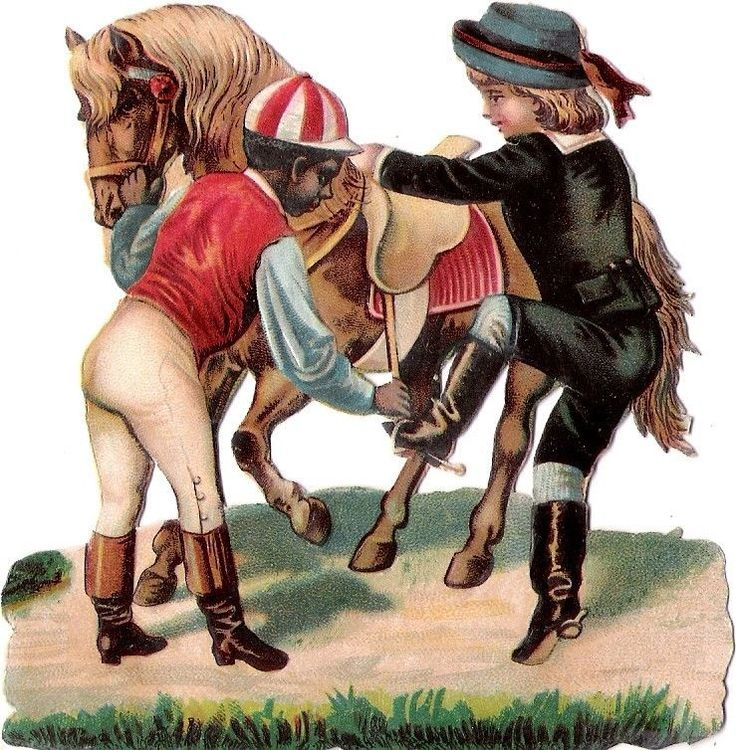 Oblaten Glanzbild scrap chromo die cut black boy Kind child Pferd horse riding: